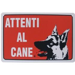 """CARTELLO PLASTICA ROSSO""""ATTENTI AL CANE""""30X20"""